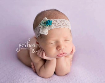 Audra - Turquoise White Gray Lace Headband - Sequins Beads Flower - Baby Infant Newborn Girls Adults - Photo Prop