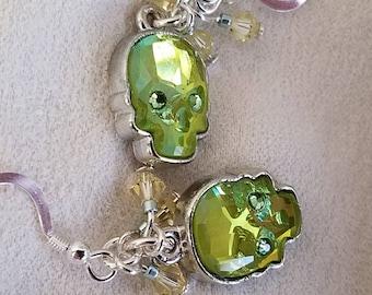 Crystal skull drop earrings,  sugar skulls,  Dia De Los Muertos, day of the dead earrings