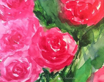 ROSE BOUQUET Limited Edition Watercolor Print by Victoria Anderson