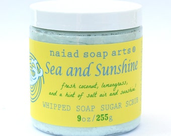 Sea and Sunshine Whipped Soap Sugar Scrub  - a scrub and cleanser in one!