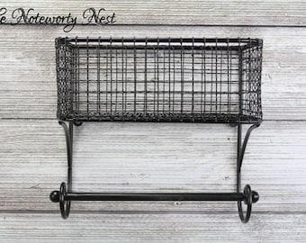 ANY COLOR Basket & Towel Rod bath kitchen organization / Industrial Kitchen / Industrial Bathroom / Farmhouse Kitchen/ Black Wire Basket