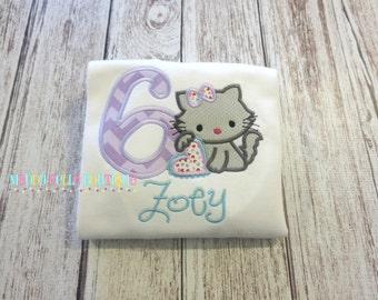 Birthday Kitty (Purple) Appliqued Shirt - Embroidered, Personalized, Monogram, Birthday, Kitty, Cat, Girls Cat Birthday Shirt
