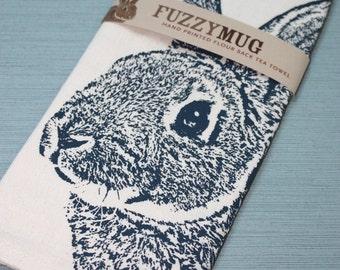 Fuzzy Bunny Tea Towel in Navy, Rabbit Tea Towel - Hand Printed Flour Sack Tea Towel (Unbleached Cotton)