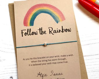Wish Bracelet - Follow the Rainbow sentiment card with envelope