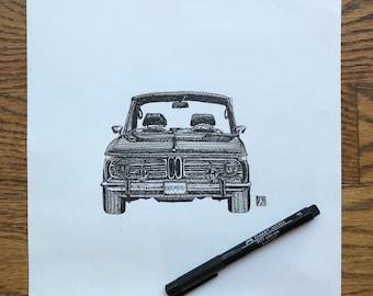 KillerBeeMoto: Original Pen Sketch of Vintage BMW 2002 (Limited Prints Also Available)