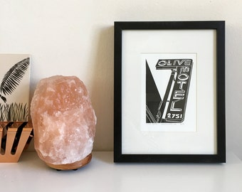Olive Motel, Framed Letterpress Print