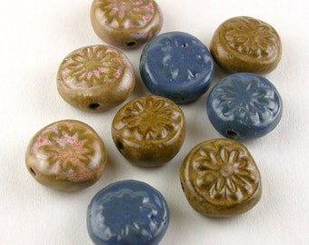 Daisy Tablet Beads, Flower Beads, Bead Set, Brown Beads, Blue Beads, Daisy Beads, Ceramic Beads, stoneware beads, pottery beads, beads