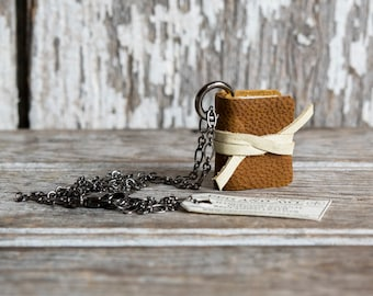 Miniature Book Necklace Shades of Brown, Mini Book Charm, Book Jewelry, Teacher Gift, Gift for Mom, Gift for Her, Book Lover Gift, Coworker