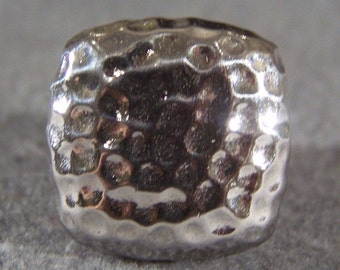 Vintage Sterling Silver Fancy Pounded Bold Wide Domed Band Ring, Size 9       **RL
