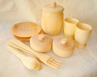 Play kitchen set. Wooden play kitchen set. Wooden toys.