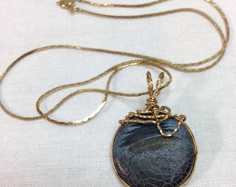 """Blue and Black Agate Stone Wrapped in 14kt Gold Filled Wire 1.5"""" Long on 18.5"""" Gold Chain, One of a Kind Previously 34 Dollars ON SALE"""