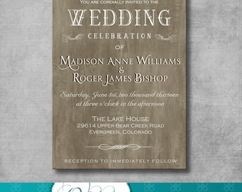 Rustic Elegant Wedding Invitation - DIY - Printable - CUSTOMIZABLE