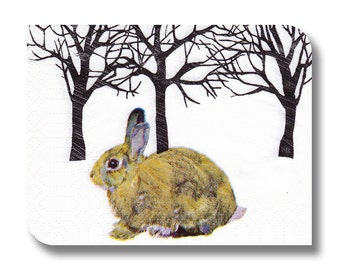 Winter rabbit paper napkin for decoupage, craft supplies, paper crafts, paper sheets (cocktail)  x 1. Children's art. Winter rabbit. No 1013