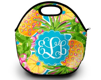 Lilly Pulitzer Inspired Lunch Box   Monogram Lunch Bag   Gift For Her   Lunch Bag Lunch Bag for Women