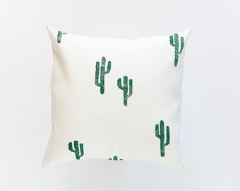LIMITED AVAILABILITY 16x16 Green and Cream Cactus Print Pillow Cover, cotton