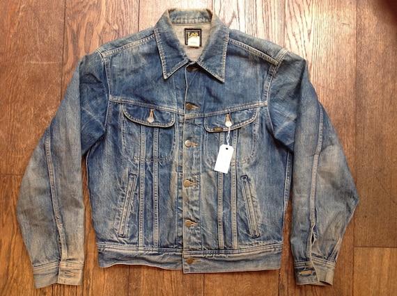 "Vintage 1980s 80s Lee Riders denim jacket faded indigo workwear trucker four pocket 44"" chest"