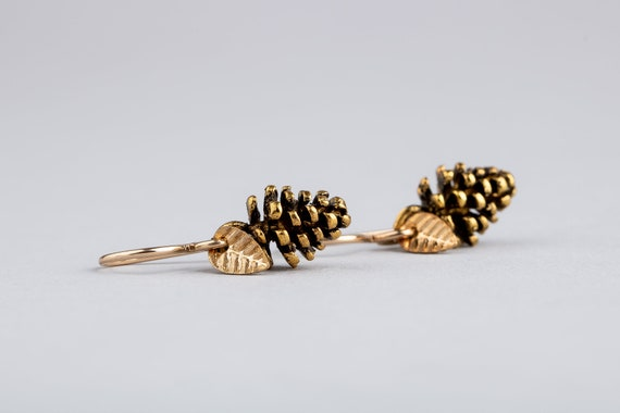 Tiny Gold Pinecone Earrings - Small Pinecone Drop Earrings with Leaves in Brass and 14K Gold Fill - Fall, Autumn, Winter Christmas jewelry
