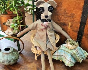 Eco friendly stuffed raccoon, eco toy, plushie, raccoon, handmade, cloth doll, rag doll, dress up doll, upcycled, repurposed, earth friendly