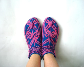 knitted slippers, womens girls slippers knit flats, Turkish Slippers Socks, home shoes, crochet house shoes, womans christmas gifts