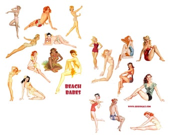 Beach Babes Digital Collage Sheets