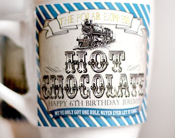 Polar Express Hot Chocolate Drink Labels - INSTANT DOWNLOAD - Editable & Printable Birthday Christmas Decorations by Sassaby Parties