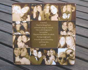 "Best Friends Collage Frame, Personalized Sister Gift, Unique Maid of Honor Picture Frame, Custom Photo Collage Bridesmaid Frame, 8"" x 8"""