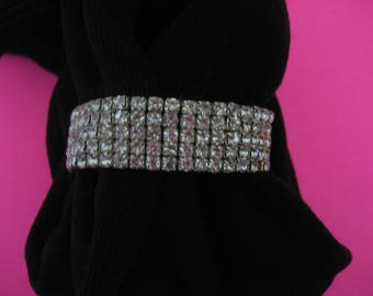 VINTAGE Rhinestone Five Row Expansion Expandable Slip On Stretch Bracelet Jewelry Bright Clear Stones Easy On Easy Off Classic Elegant Style