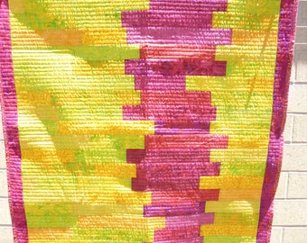 Pink and yellow crib or lap quilt - modern style