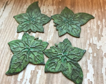 Patina Leaf CHARMS, Patina Metal, Earring Pairs, patina, earring charms, earring dangles, dangles, earrings, earring components