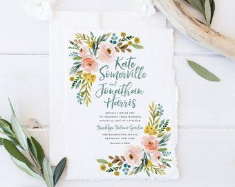 Wedding Invitation Set, Printable Spring Summer Wedding Invites, Blush Pink Floral Wedding Invitations, Bohemian Boho Watercolor Flowers