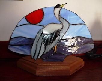 Stained glass fan lamp Heron