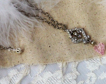 Heart and Crystal Filigree Pendant Necklace Pink Swarovski Heart Necklace Silver and Crystal Pendant Necklace
