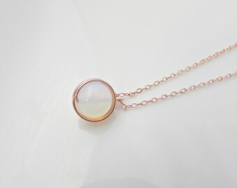 Moonstone Necklace, Opalite Necklace, Rose Gold Opal Necklace, Bridesmaid Gifts, Bridesmaid Necklace, UK Seller, Mom, Gifts for Bridesmaids
