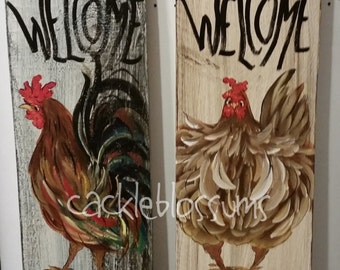 """5.5"""" X 21""""  Rooster Sign #213 or Hen Sign #214 Welcome Chicken signs"""