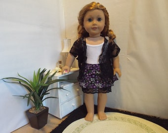"""Dark Flowers-3 Piece Outfit-Fits 18"""" dolls LIKE American Girl"""
