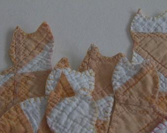 Cutter quilt ornament Cat vintage quilt white cream orange gold holiday decor tree ornaments  folk art