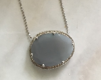 Diamond pave Gray moonstone halo necklace
