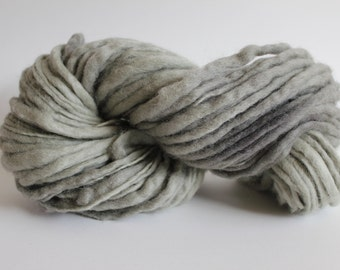 Hand Spun Hand Dyed  Thick and Thin   Super  Chunky Wool Yarn  Sage Color