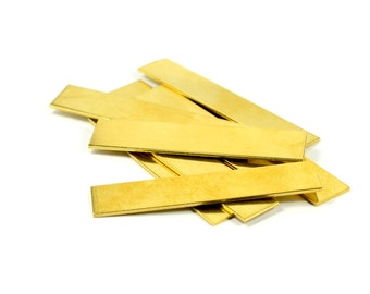 "5 Pcs. Raw Brass Blanks 1/2""x2"" -18 Gauge (1 mmThick ) Stamping Blanks (13x50 mm )"