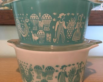 Two Pyrex Butter Print Cinderella casserole dishes