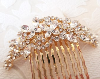 Gold Plated Butterfly Hair Comb for Vintage Glam Wedding DIY Veil or Fascinator Art Deco Bridal Hair Style Swarovski Crystal Prom Jewelry