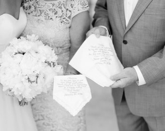 Mom and Dad Wedding Gift Embroidered Wedding Handkerchiefs Wedding Gifts for Mother and Father of the Bride Gifts for Mom and Dad Wedding