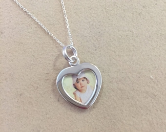 Sterling Silver Heart Photo Picture Frame Charm or Pendant **Chain Option Available   --Ready to Ship--