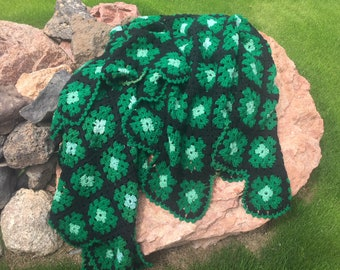 """Vintage Green and Black Granny Square Afghan - 84"""" x 64"""""""