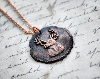 Stag Deer Antique Wax Seal Pendant Necklace