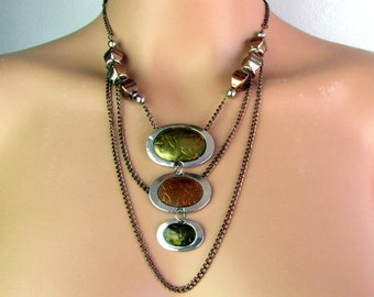 Copper Necklace ~ Layered Chains ~ Enameled Pendants ~ Handmade ~ Original ~ Gift Box Included