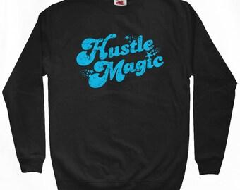 Hustle Magic Script Sweatshirt - Men S M L XL 2x 3x - Crewneck, Fun, 70s, Retro, Grind Hard - 3 Colors
