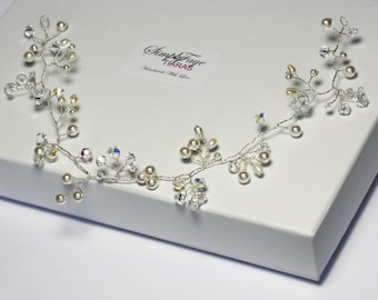 Ivory hair vine, wedding hair accessories, pearl and crystal hair vine, Gyp hair vine, delicate hair vine, bridal halo, bridal headpiece