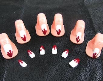 Vampire Fang Blood Drip Acrylic Nail Art