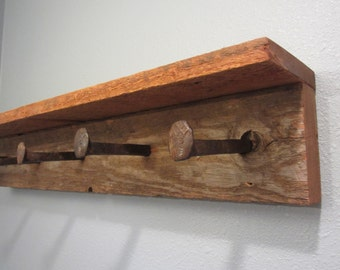 Rustic coat rack, barnwood coat rack, rustic home decor, spike rack, barnwood rack, rustic key holder, entry shelf, rustic shelf, towel rack